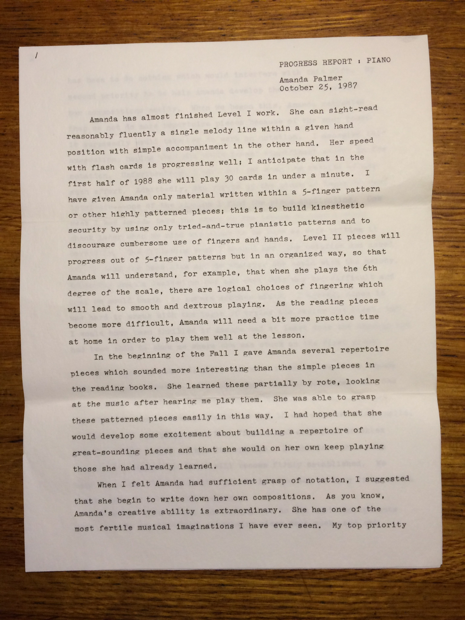 DAY 8 a letter to my mother from my piano teacher 1987 i was 11